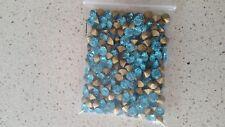 280pcs   foiled faceted Rhinestones 6~6.2mm in light turquoise /aquamarine