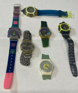 Lot Of Vintage 1980s Swatch Watch Swatch Guard Too New Battery Running