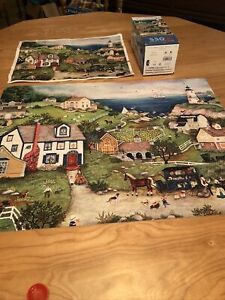 Linda Nelson Stocks PEDDLER'S COVE -  550 pc Jigsaw Puzzle With Poster