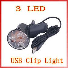 3 LED Port Clip On Spot USB Lamp Light For Laptop PC Notebook Black Super Bright