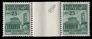 REPUBBLICA SOCIALE 1944 - 25 c. n.505  MONUMENTI COPPIA INTERSPAZIO SPL € 10