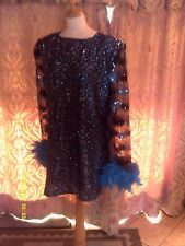 Drag Queen SHORT Turq Glitter dress with Turq Feathers 20/22