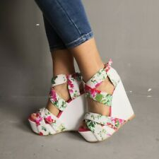 Womens Floral Wedge Sandals Open Toe Platform Super High Heels Cross Strap Shoes