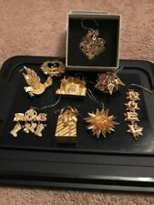 Danbury Mint 23K Gold Plated Christmas Ornaments - A set of Nine - See Photos!