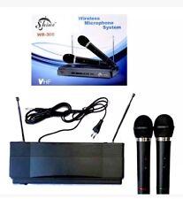MICROFONO sistema Wireless (TWIN) Set Shine WR-306 Ricevitore Karaoke Mic DUAL 2x