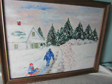 Vintage Acrylic Paint Picture Landscape Winter in Vermont All Done Sledding EPOC