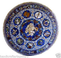 3' White Marble Dining Table Top Lapis Lazuli Mosaic Inlay Home Decor Gift H2041