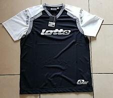 Vintage 90s Lotto T-Shirt noir, manches blanches Taille L. Ref K0675. NEUF