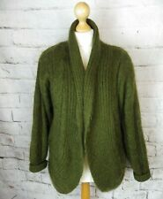 Vintage lined 50% mohair blend cardigan coatigan khaki green cable knit 12 14