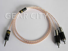 chf7r 1m 3ft 3.5mm Jack to RCA Plug Aux Cable 8x 1.0mm Silver Wire Headphone Amp