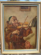 Original painting Charlotte Lilla Yale (1853-1929) large Violinist Monk Vintage