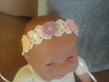 Baby & Toddler Girl Handmade Hand Crocheted Headband with Flowers Multi-Color