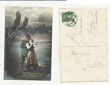 84672 antica cartolina  spedita da svizzera seemann abschied marinaio addio