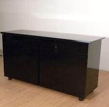 Mobile cassettiera comò in legno laccato nero lucido Nuovo 8 cassetti Moderno