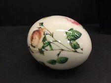 Large Vintage Porcelain Hollow Rose Floral Motif Egg