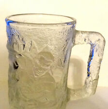 MUG CUP BATMAN ROBIN FOREVER MC DONALD'S 1995 CLEAR GLASS EMBOSSED