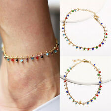 Colorful Crystal Ankle Bracelet Women Anklet Adjustable Chain Foot Beach Jewelry