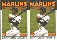 2021 Topps Series 1 Starling Marte 1986 Topps Baseball 86B-42 Miami Marlins x 2