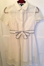Stunning New White Eyelet Cocktail Party Dress Organza Shirtdress 1950's Style