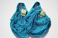 Paquete De 2 Boulevard Cadena Bolso de compras, algodón sin blanquear reciclado, Manijas Cortas