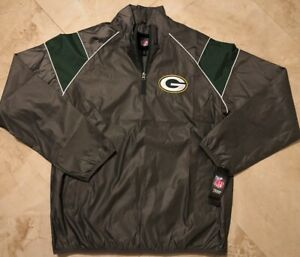 Green Bay Packers Half Zip Pullover Jacket 3XL Embroidered Two Sided Logos NFL