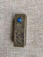 Vintage 800 Sterling Silver Lipstick Case Tube Holder w/Mirror c.1920 BLUE Stone