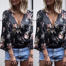 Women Kimono Long Sleeve Loose Blouse Summer V Neck Casual Shirt Tops GS