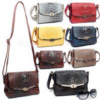 Ladies Faux Leather Croc Pattern Cross Body Satchel Bag