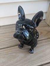 "Black Ceramic French Bulldog Statue 9""  New"