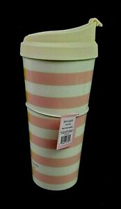 New Kate Spade 20oz Insulated Tumbler Two-Tone Stripes Yellow/Pink With Lid