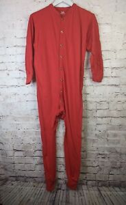 White Mountain Traders Mens Small Red One Piece Long Johns Union Suit