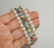 Saints Bracelet Pearl beads Catholic St Icon Medals Stretch Religious Bracelet