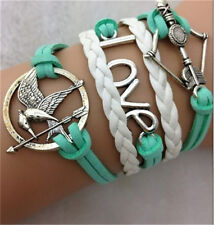 NEW Infinity bow bird LOVE Antique Silver Leather Charm Bracelet B17