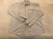 BROOKS BROS Mens XL 17-35 Dress Shirt White w/ Blue Stripes 100% Cotton