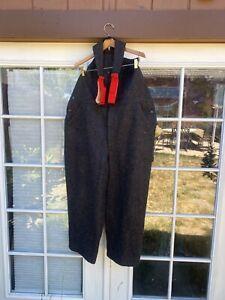 NEW Vtg 90s WOOLRICH Gray Plaid Wool Bib Overalls XL Men's ~ Hunting 1994 USA