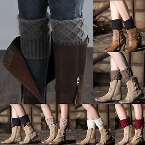 Women Knit Crochet Boot Cuffs Toppers Short Ankle Socks Winter Warm Leg Warmers