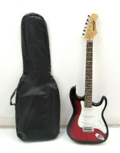 """Zennox LA Electric Guitar Red 6 String w/ Carry Case Musical Instrument 38.5"""""""