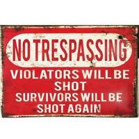 Metal Plate Sign No Trespass Violators Shot Cave Home Gate Decor Warn Bar Tin