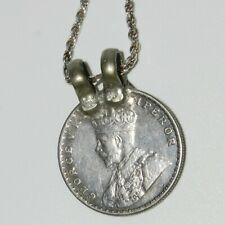 1919 One Rupee George V India Silver Coin Pendant + 925 chain Italy Sterling