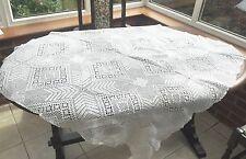 Vintage White Handmade Crochet Square Table Cloth Throw