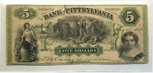 1861 BANK OF PITTSYLVANIA VIRGINIA CSA $5 EARLY CIVIL WAR BANK NOTE CURRENCY