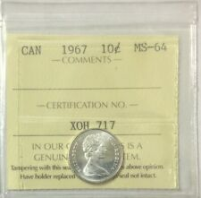 1967 Canada Silver 10 Cents  ICCS Graded MS 64   # 34964