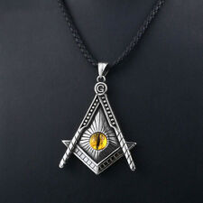 Men Tiger's eye All-seeing Eye Freemason Masonic Titanium Steel Pendant Necklace