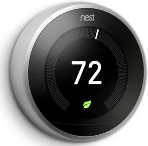 Google Nest Stainless Steel Learning Thermostat T3028GB
