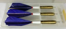 Vintage KWIZ Throwing Darts & Case Made in England-Royal Blue Flight