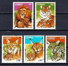 Animaux Félins Congo (151) série complète 5 timbres oblitérés