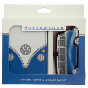 Official Volkswagen VW T1 Camper Bus Blue Passport Holder and Luggage Tag Set