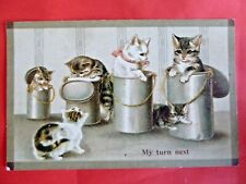 Helena Maguire (unsigned). 'My Turn Next'. Kittens in Lunch Pails.