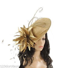 Gold Fascinator Hat for weddings/ascot/proms A1