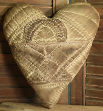 Primitive Quilt Heart Valentine Brown Cupboard Tuck Coffee Stained Basket
